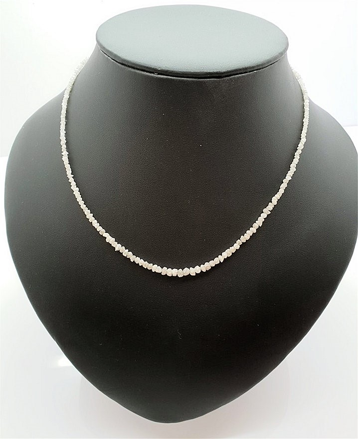 """15.07 carat Solid Real White Loose Rough Diamond 16"""" Necklace Silver Lock"""