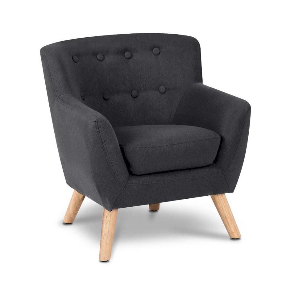 Artiss Kids Fabric Accent Armchair - Black