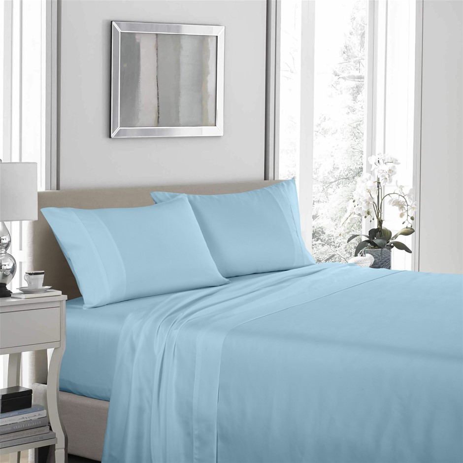 Royal Comfort 1200TC Ultrasoft 4 Piece Sheet Set - King - Sky Blue