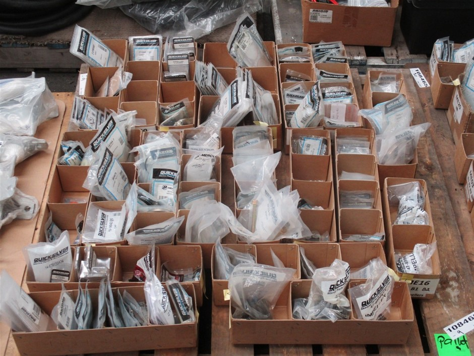 Pallet of Quicksilver Marine Engine Repair Components