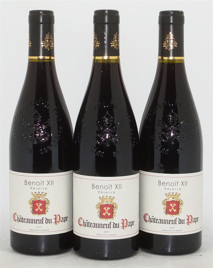 St Clementin Réserve Benoit XII Châteauneuf du Pape 2015 (3x 750mL), Rhone