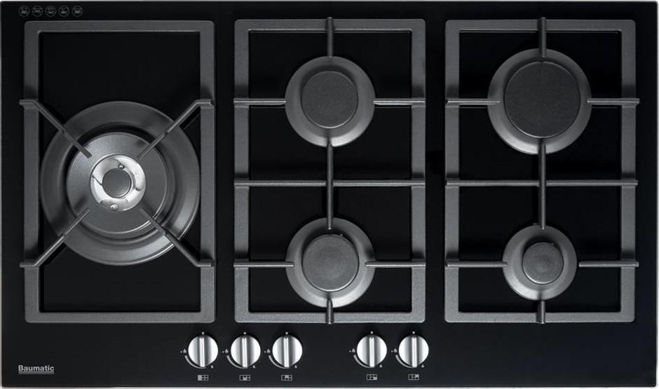 Baumatic BSGH95 90cm Black Glass Natural Gas Cooktop