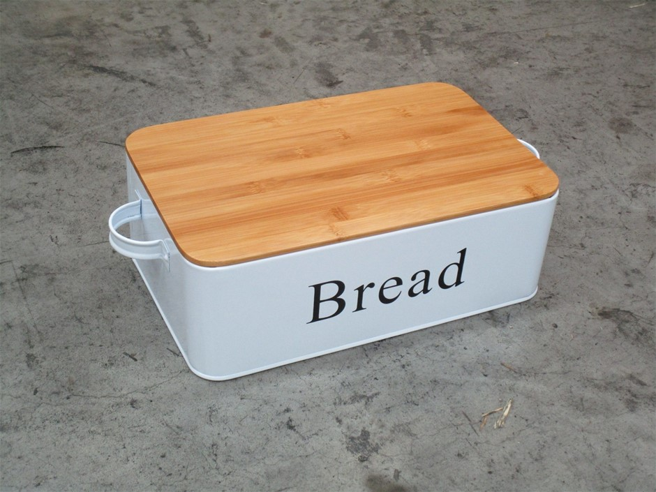 Pallet of Approximately 120 Metal Bread Tin with Bamboo Lid