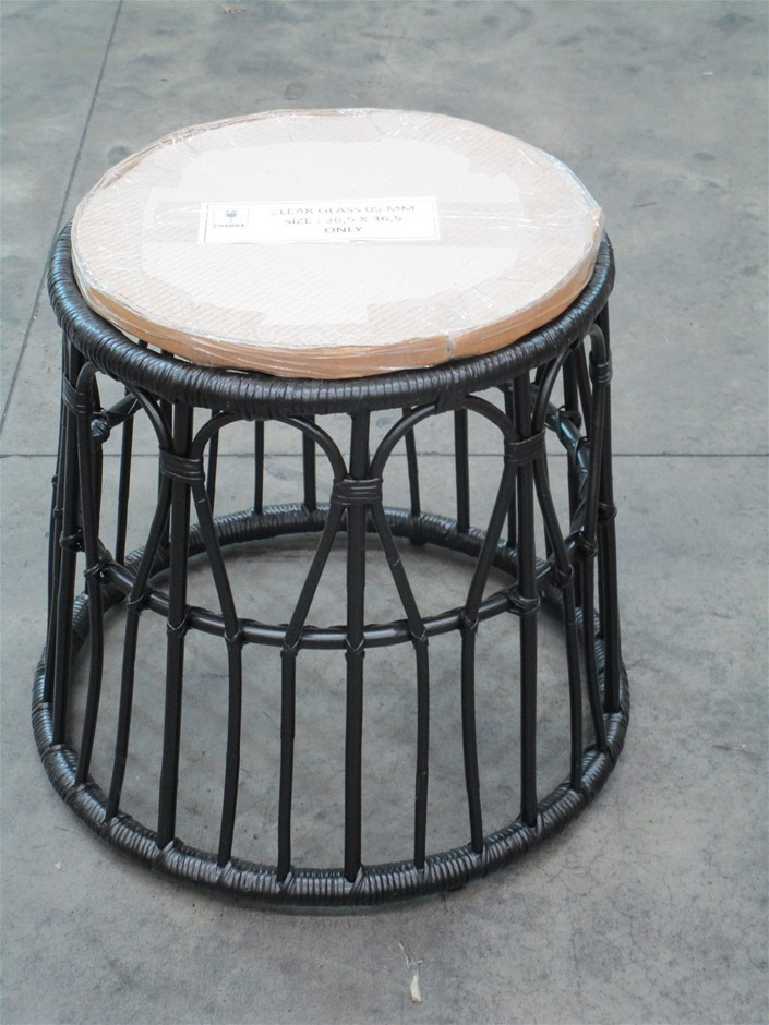 Pallet of 3 Rattan Round Tables with Glass Top
