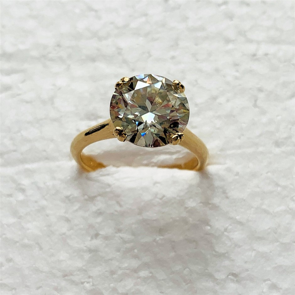 10ct Yellow Gold, 3.44ct Moissanite Engagement Ring