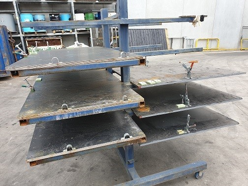Nine Teir Steel rack on castors with clamps surface rust