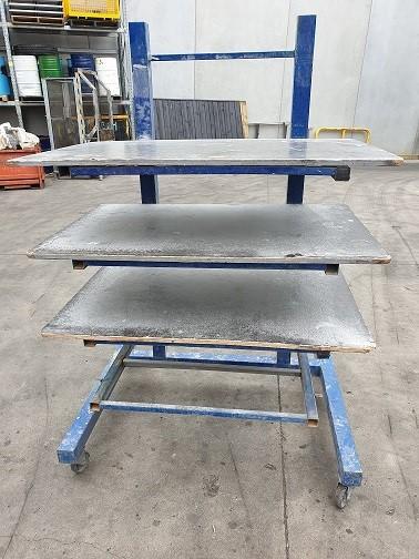 Four Tier steel rack on castors surface rust