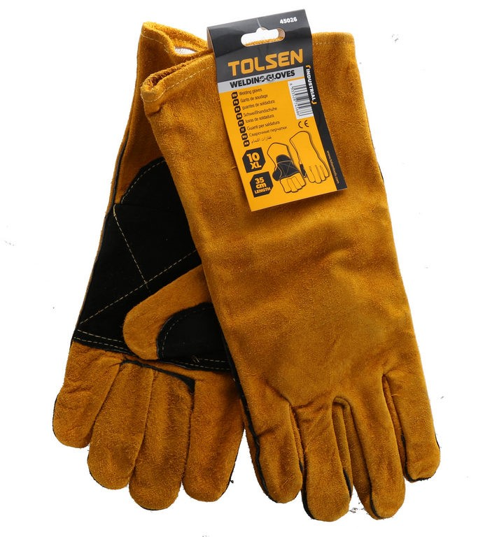 2 x Pairs TOLSEN Leather Welders Gloves, Lined, Size XL , Length 35cm. Buye