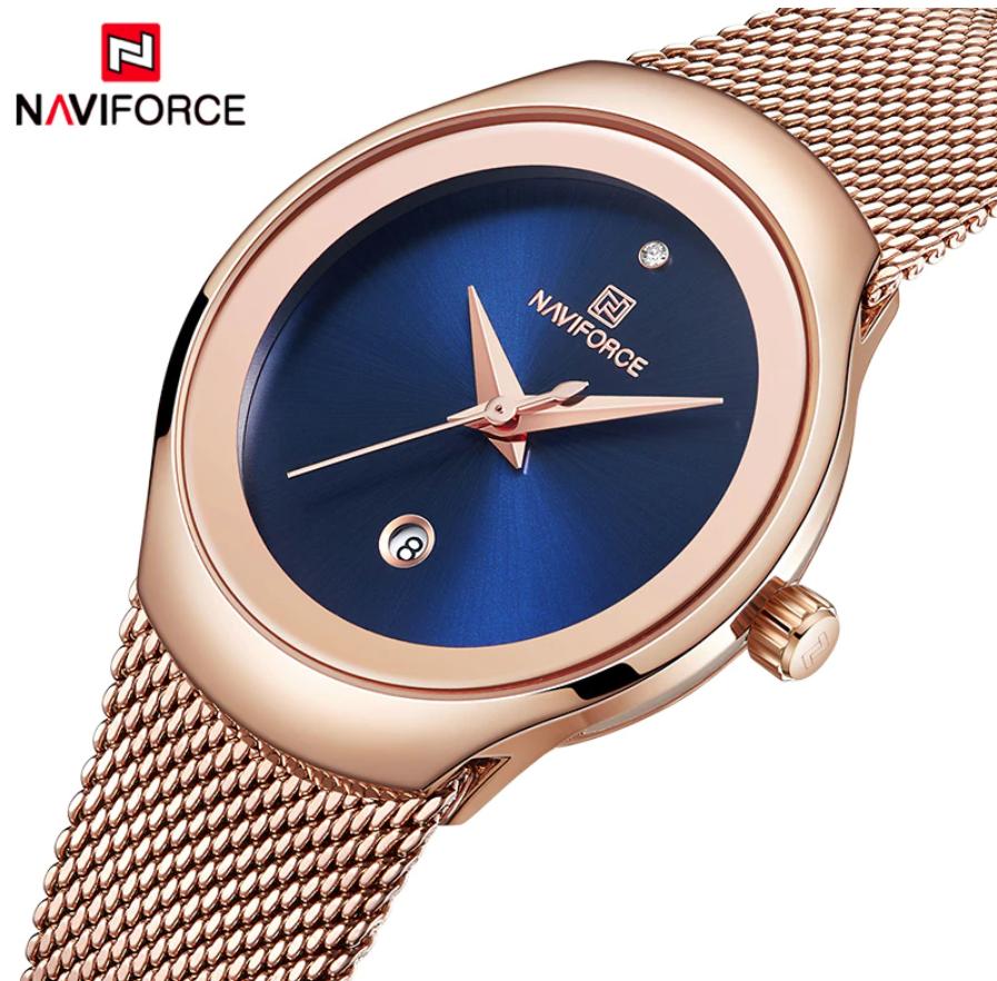 Naviforce Ladies Stylish Watch Water Resistant SS Bracelet NF-5004 RGBE