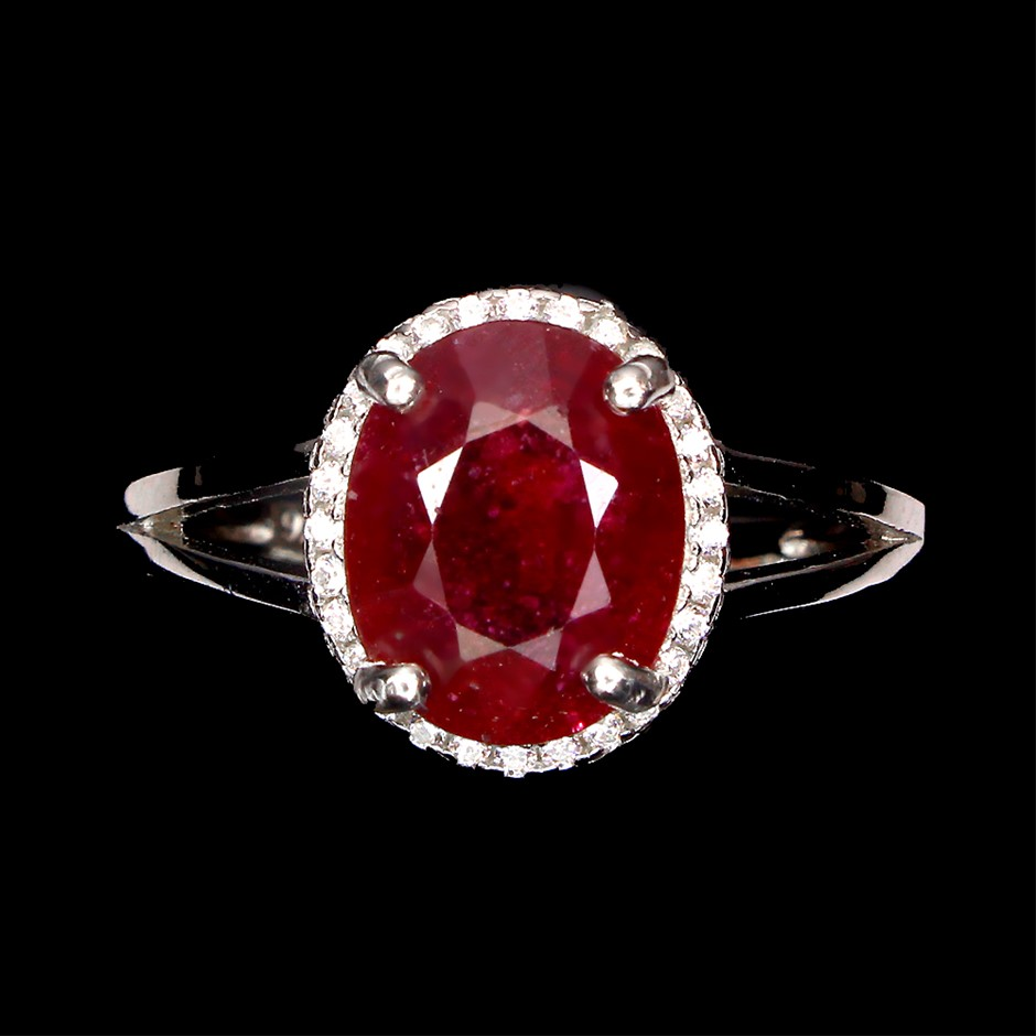 Beautiful Genuine Blood Red Ruby Solitaire Ring