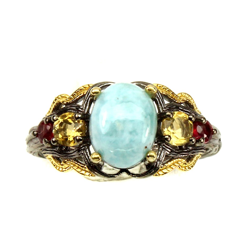 Unique Genuine Larimar Sapphire & Citrine Ring.