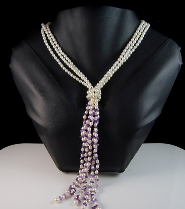 Spectacular Pearl & Amethyst Lariat Necklace