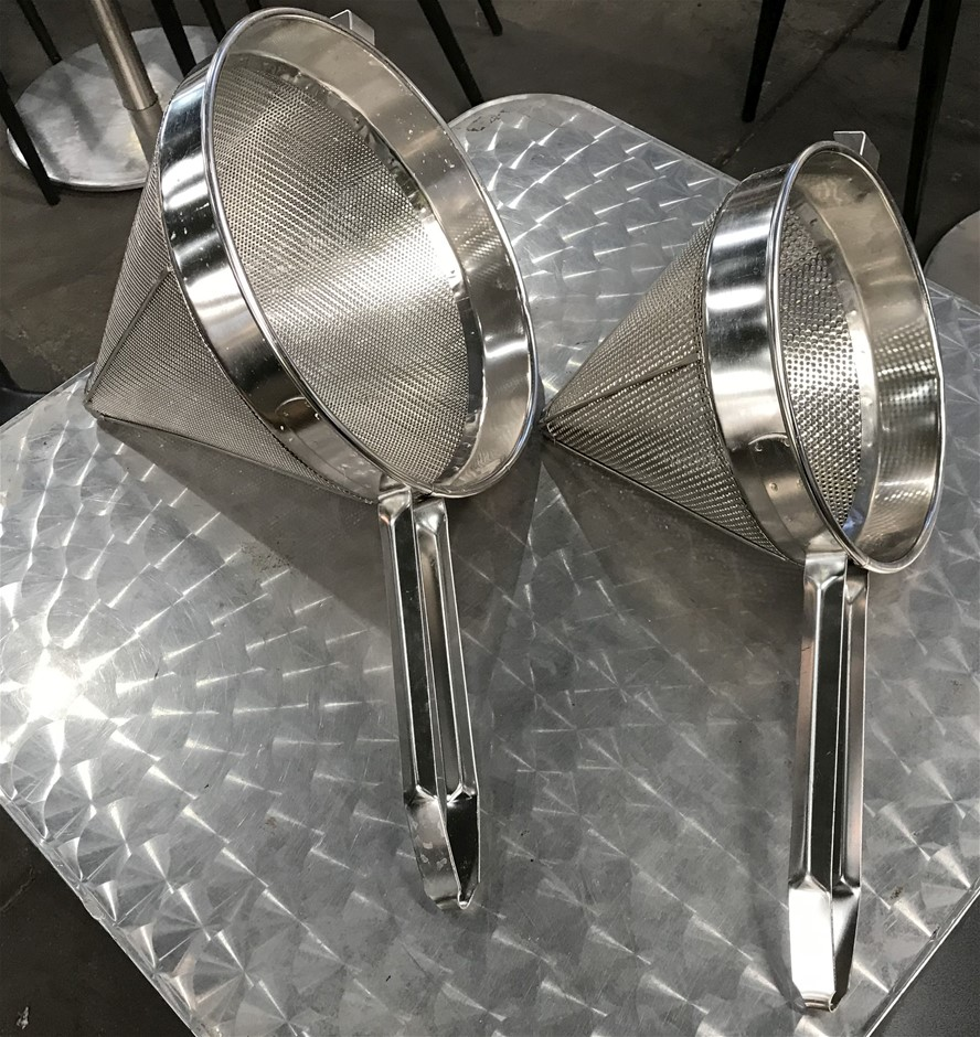 Qty 2 x Stainless Steel Conical Strainers
