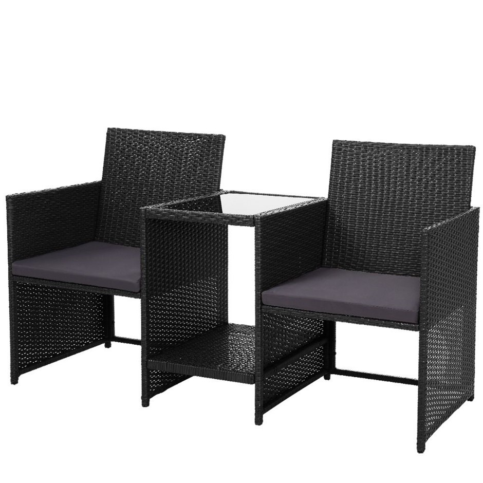 Gardeon Outdoor Setting Wicker Loveseat Bistro Set Patio Furniture Black
