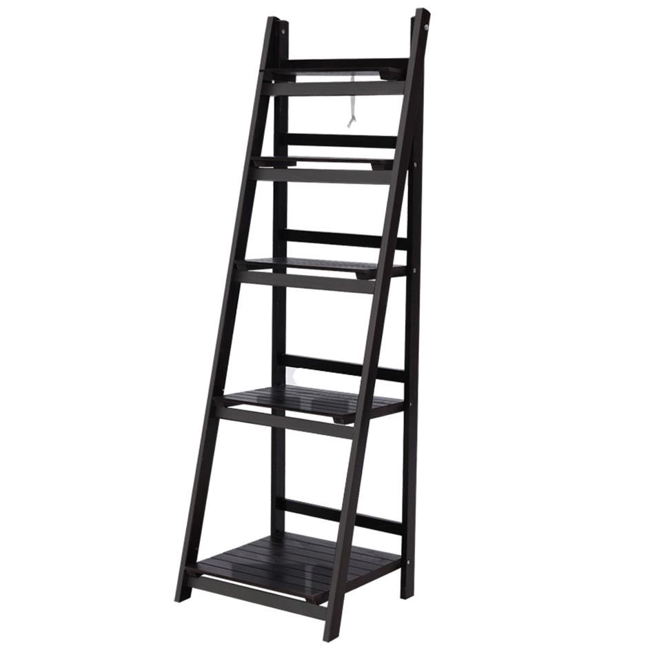 Artiss Display Shelf 5 Tier Wooden Ladder Stand Storage Book Rack Coffee