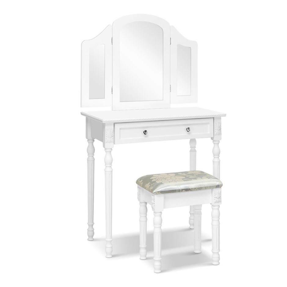 Artiss Dressing Table Stool Mirror White Mirrors Jewellery Cabinet Box