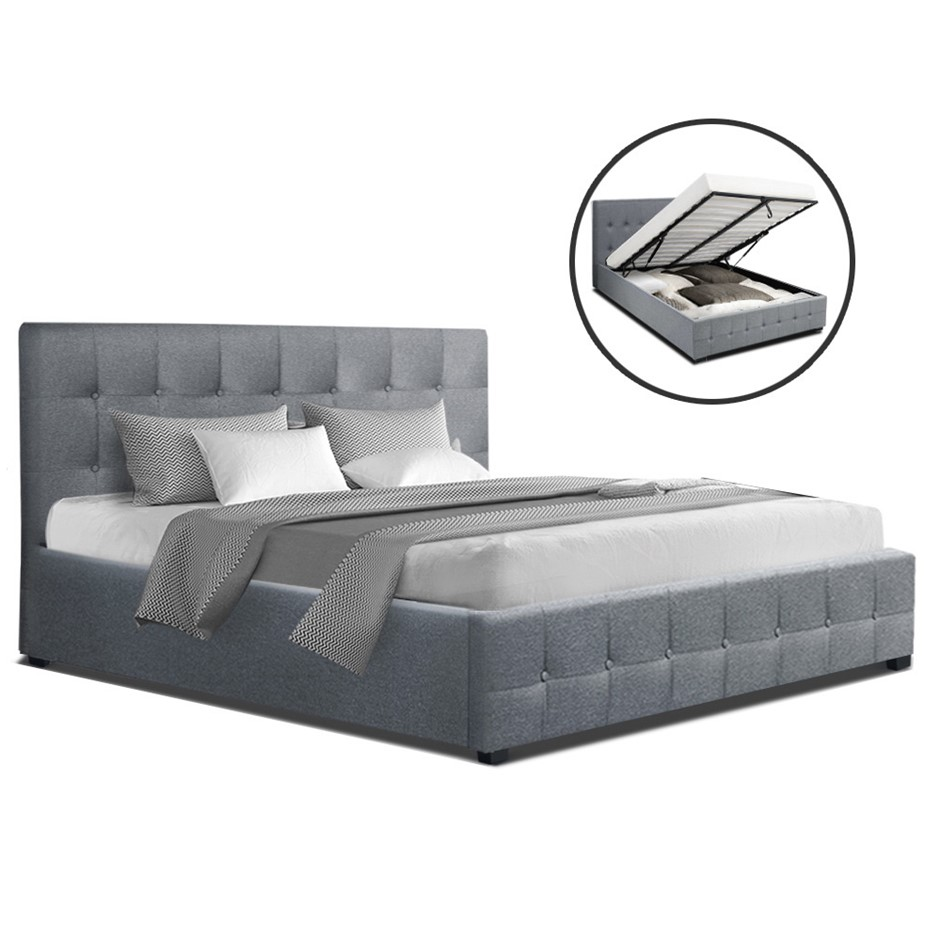 Artiss ROCA Double Full Size Gas Lift Bed Frame Base Storage Mattress Grey