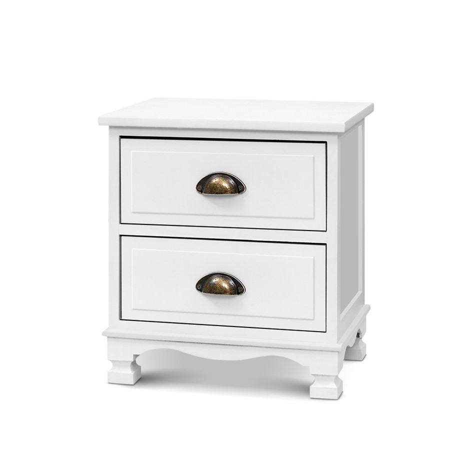 Artiss Bedside Tables Drawers Side Table Nightstand Vintage Storage x2