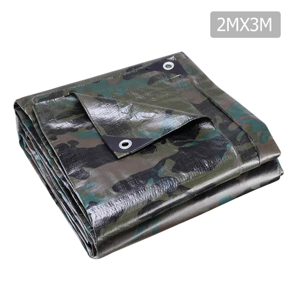 Instahut 2x3m Canvas Tarp Heavy Duty Camping Poly Tarp Tarpaulin Camouflage