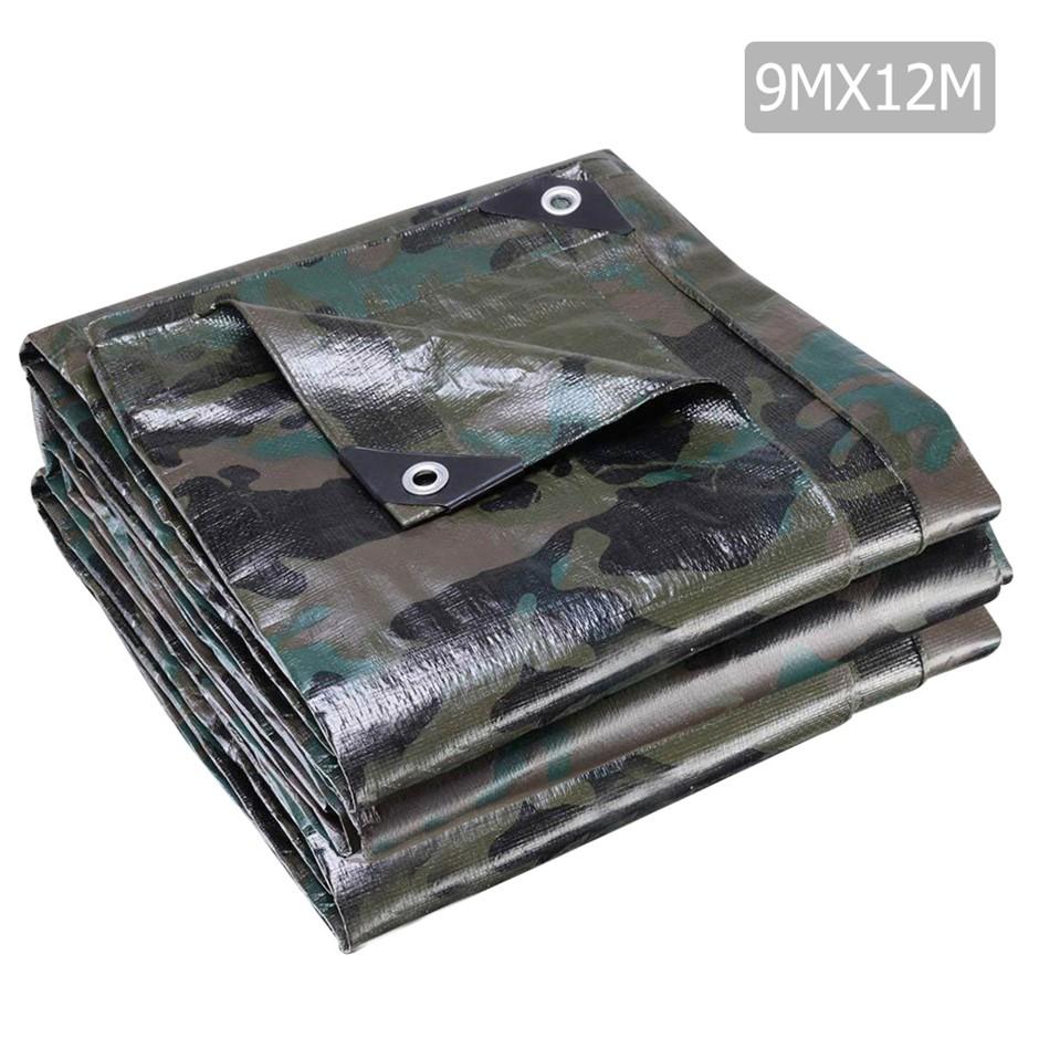 Instahut 9x12m Canvas Heavy Duty Camping Poly Tarp Tarpaulin Camouflage