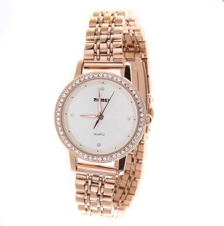 SKMEI Quartz Ladie`s Wrist Watch,Stainless Steel Band, 31mm Dial width, Wat