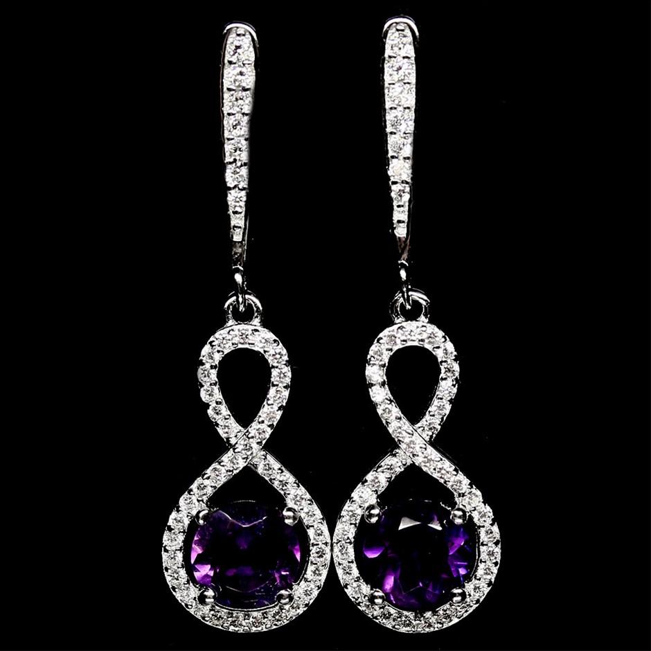 Striking Genuine Purple Amethyst Drop Earrings