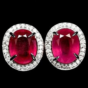 Striking Genuine Pinkish Red Ruby Stud E