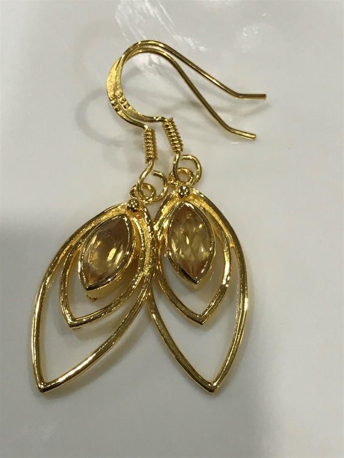 Eye Catching Citrine & 18K Gold Vermeil Earrings