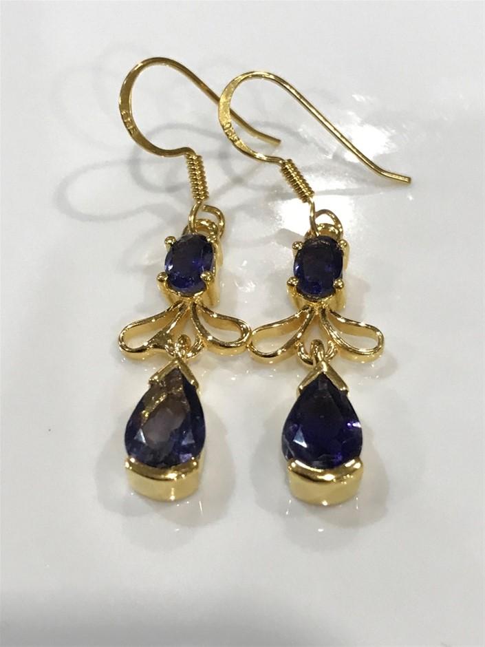 Genuine Iolite & 18K Gold Vermeil Drop Earrings