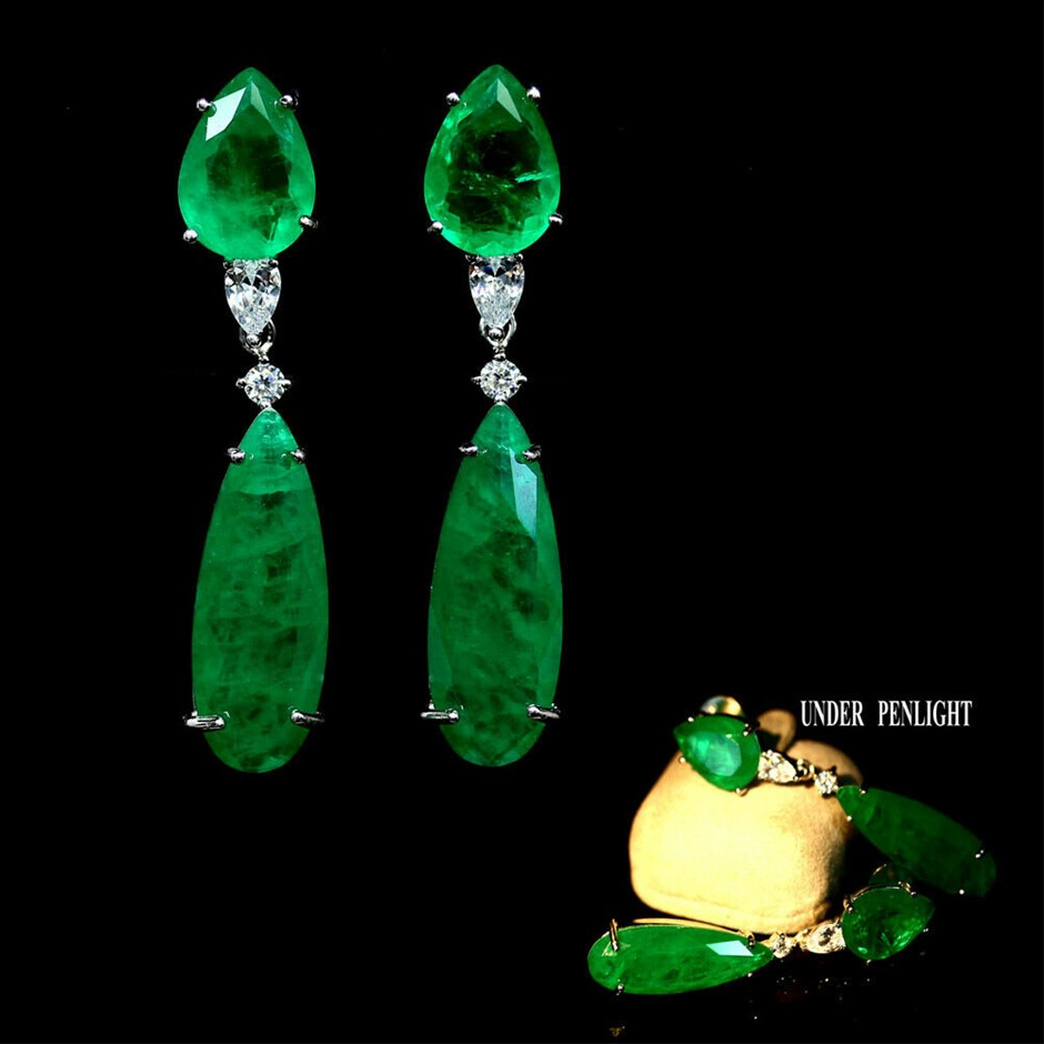 Amazing Forest Green Doublet Emerald Dangle Earrings.