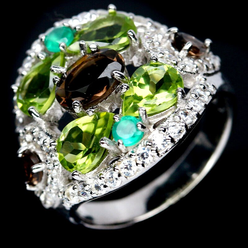 Smoky Quartz Green Peridot & Agate Ring. Size 'M'