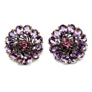 Purple Amethyst & Rhodolite Garnet Earri
