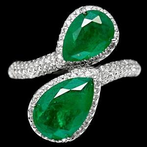 Pear Cut Forest Green Doublet Emerald Ri
