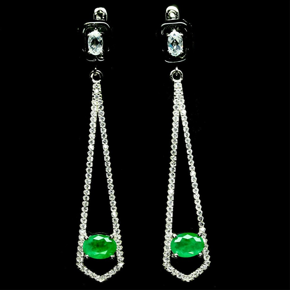 Oval Cut Forest Green Doublet Emerald Dangle Earrings.
