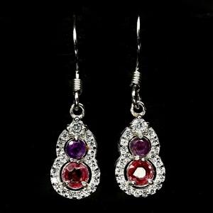 Stunning Pink Sapphire & Amethyst Earrin