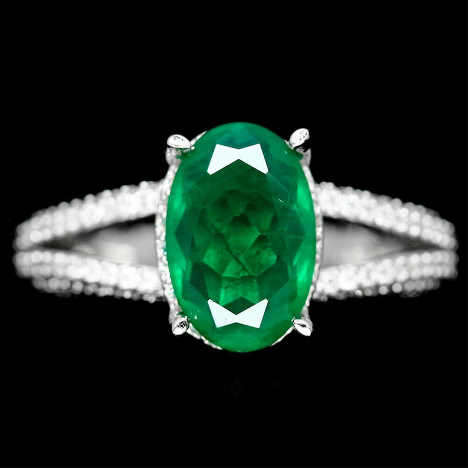 Forest Green Doublet Emerald Ring. Size 'R'