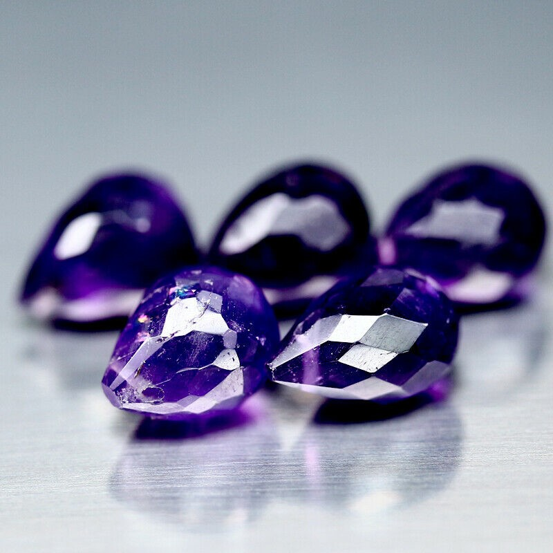 13.40 ct. (5pc) Briolette Cut (Drilled) Purple Amethyst's