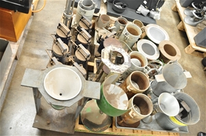 Pallet containing Cement moulds cylindri