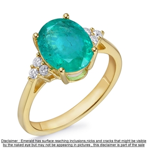 18ct Yellow Gold, 2.63ct Emerald and Dia