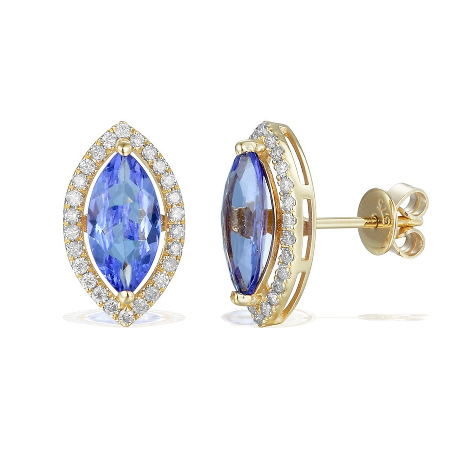 9ct Yellow Gold, 2.17ct Tanzanite and Diamond Earring