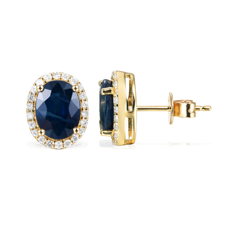 9ct Yellow Gold, 4.82ct Blue Sapphire and Diamond Earring