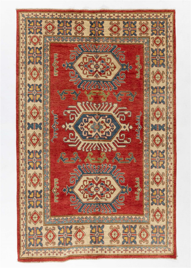 Afghan Kazak 100% wool pile hand knotted floor rug Size (cm): 158 x 249