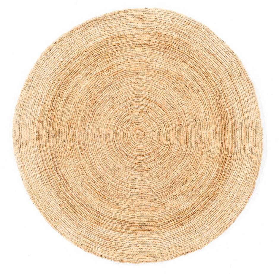Hand Braided Pure Jute Natural Fibre Circular Floor Rug Size (cm):150 x 150