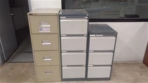 Three Metal Filing Cabinets - 2 Four Dra