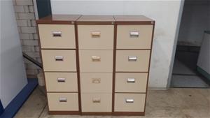 Three Metal Filing Cabinets - 4 Draw Cab