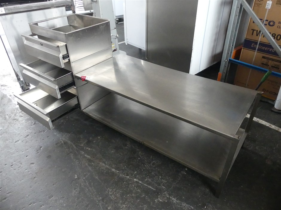 Stainless Steel Underbench Draw Unit with Storage Shelves