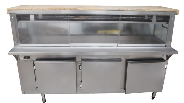 CUSTOM MADE SALAD BAR STAINLESS STEEL 3 DOOR WITH GLASS CANOPY FRID
