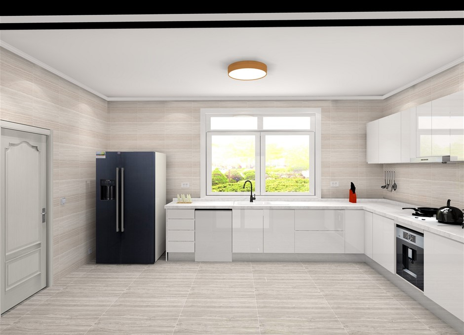 J-Style Flat Pack Kitchen - White Melamine Cabinets with 2-pac Gloss White