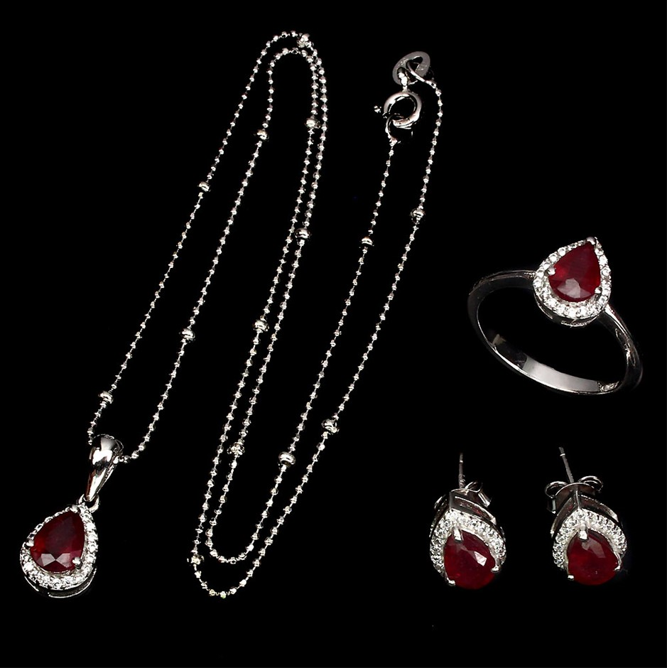 Incredible Genuine Ruby Earring Pendant Chain & Ring Set