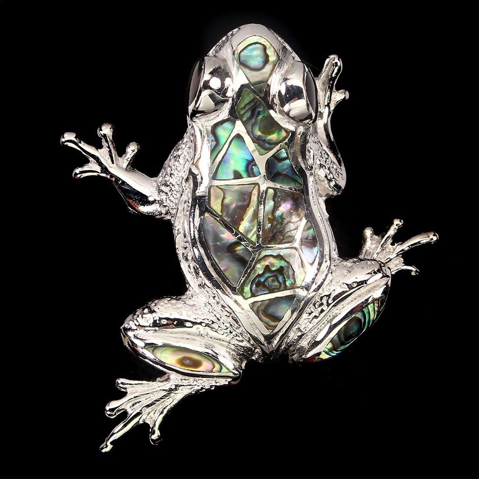 Gorgeous Genuine Mother Of Pearl Froggy Brooch